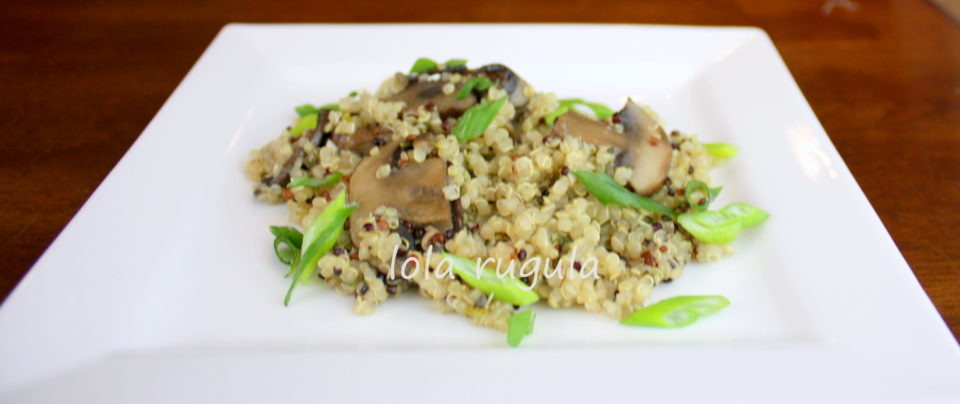 quinoa with mushrooms, scallions and thyme – lola rugula
